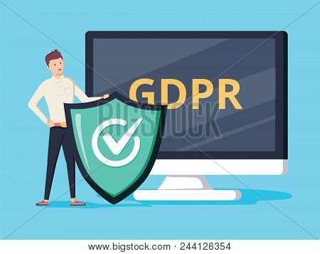 GDPR protector. Smiling cartoon character with a shield in front of the screen showing GDPR letters. Flat vector illustration. Isolated on white background. General Data Protection Regulation. poster