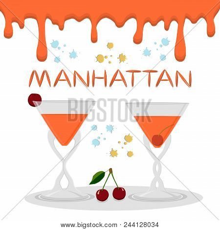 Vector Icon Illustration Logo For Alcohol Cocktails Manhattan From Red Berry Cherry. Manhattan Consi