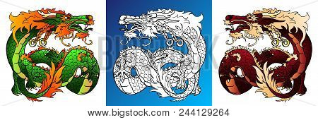 Set Artful Asian Dragons Colorful Tree Green And Earth Yellow-brown And Line-art Separately On A Whi