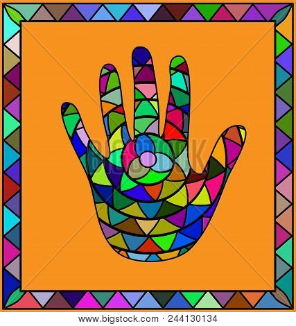 Abstract Colored Background Image Of Hand Print Consisting Of Lines And Figures