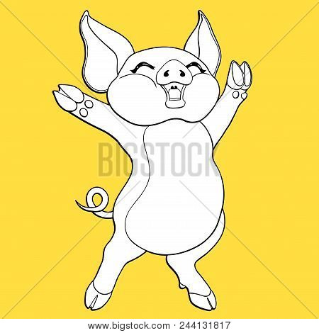 Joyful Pig Black Contour Line-art And White Colour Separately On A Yellow Background. Vector Cartoon