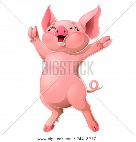 The Cheerful Ruddy Pink Pig Rejoices Standing On Hind Legs. A Yellow Hog, Boar A Symbol 2019 New Yea