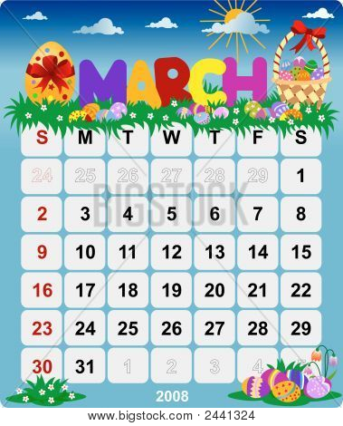 Monthly Wall Calendar March 2008