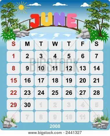 Monthly Wall Calendar June 2008