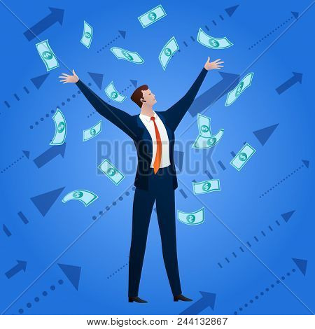 The Successful Businessman Rejoices To The Money Falling On Him On A Blue Background With Arrows. Bu