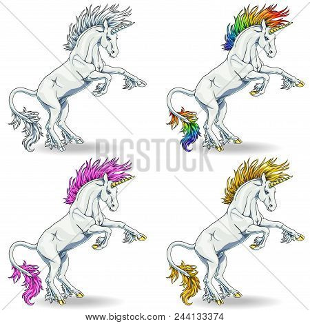 Set The State Proud White Colorful Unicorns With Blue Eyes And Pink, Raimbow And Gold Hairs Who Got