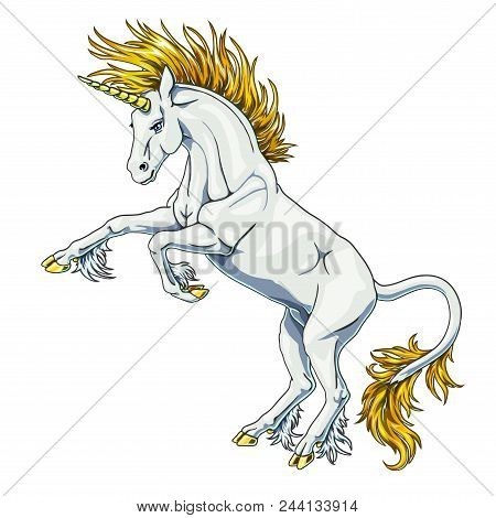 The State Proud White Colorful Unicorn With Blue Eyes And Gold Hair Who Got On Hind Legs On White Ba