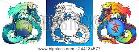 Set Wise Asian Dragons Colorful Blue And Rainbow And Line-art Separately With Planet Earth And Spher