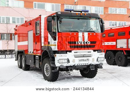 Novyy Urengoy, Russia - April 30, 2015: Fire Truck Iveco Amt Trakker In The City Street.