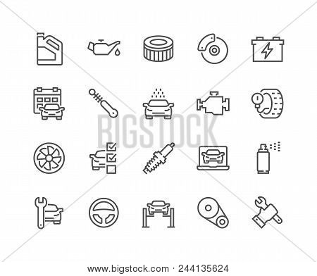 Simple Set Of Car Service Related Vector Line Icons. Contains Such Icons As Oil, Filter, Steering Wh