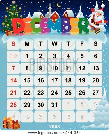 Monthly Wall Calendar December 2008