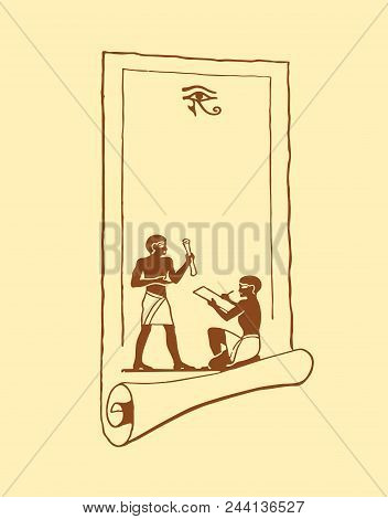 Egyptian Scroll With Images Of People And Eyes On A Beige Background