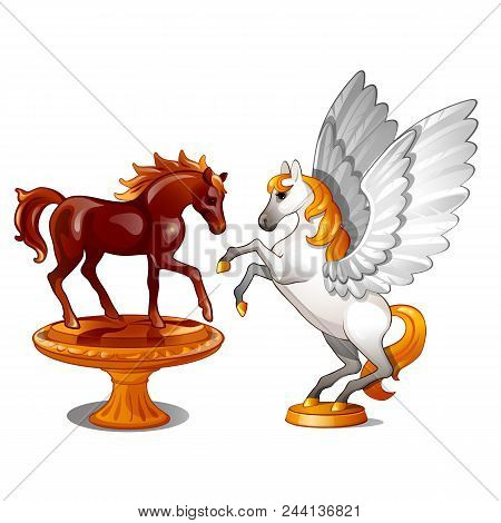 A Set Of Two Statues Of Graceful Horses Isolated On White Background.