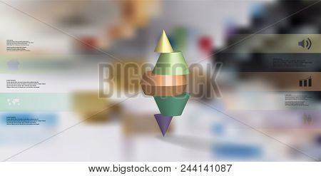 3d Illustration Infographic Template With Motif Of Sliced Spiked Cone To Five Green Parts And Askew