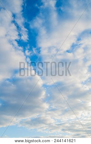 Blue Sky Sunrise Landscape With White Dramatic Spindrift Clouds - Vast Sky View.white Clouds In The
