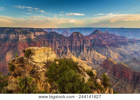 Sunset Over The Grand Canyon, North Rim. The Grand Canyon Is A River Valley In The Colorado Plateau.