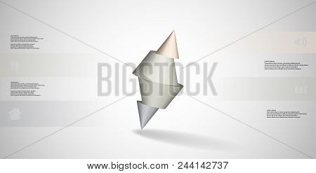 3D Illustration Infographic Template With Spiked Cone Sliced To Four Parts And Askew Arranged