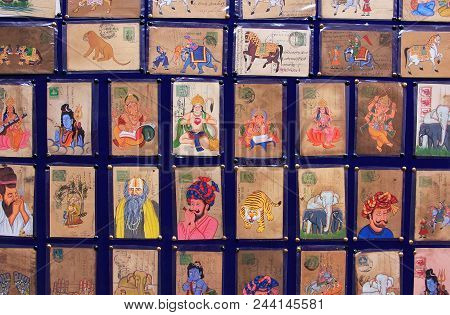 Udaipur, India - February 8: Display Of Colorful Paintings In The Market On February 8, 2011 In Udai