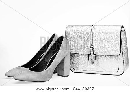 Perfect Match Concept. Shoes Made Out Of Grey Suede On White Background. Pair Of Fashionable High He
