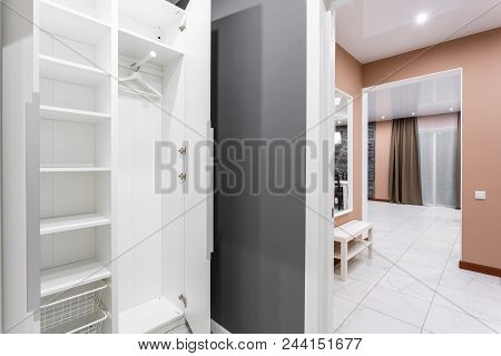 Interior Of Modern Empty Wardrobe Room. Hotel Modern Standart Room. Simple And Stylish Interior. Int