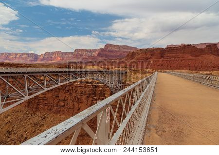 Historic Navajo Bridge Spans Marble Canyon In Northern Arizona.