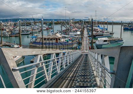 Alaska Marina Entrance:  A Steep Ramp Leads To Floating Docks That Accommodate The Large Tide Shifts