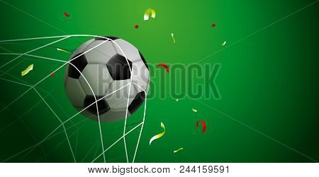 Soccer Match Web Banner For Special Sport Game Event. Football Ball Scoring Goal With Confetti Celeb