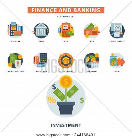 Money Finanse Banking Safety Icons Business Currency Card Financial Deposit Bank Payment Vector Illu