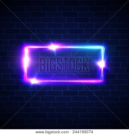 Neon signage. Rectangle frame with glowing. Electric bright 3d street sign banner on dark brick texture wall. Abstract square background with neon lights flare and sparkle. Vintage vector illustration poster