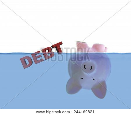 Piggy Bank Floating Upside Down Under Water With Red Debt Text