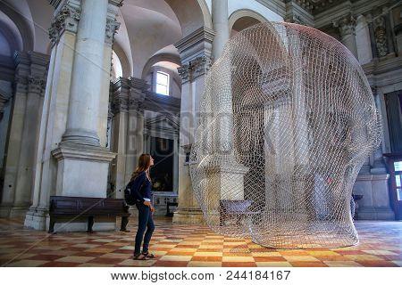 Venice, Italy-june 22: Sculptural Installation By Jaume Plensa During Venice Art Biennale Inside San
