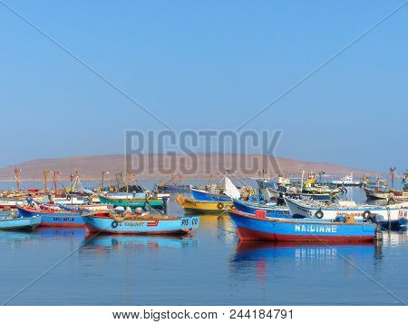 Paracas, Peru-january 26: Colorful Fishing Boats Anchored In Paracas Bay On January 26, 2015  In Par