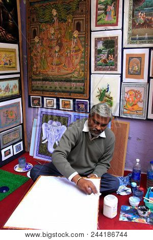 Udaipur, India - February 8: Unidentified Man Paints In His Studio On February 8, 2011 In Udaipur, I
