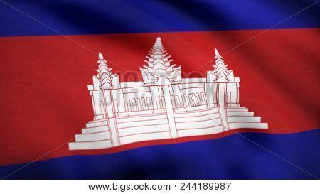 Animated Flag Of Cambodia - Seamless Loop. Cambodia Flag. Background Seamless Looping Animation. 4k