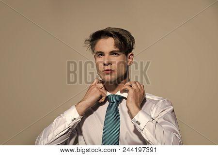 Man Preparing For An Interview. Businessman Tie Necktie On Grey Background. Business Fashion, Access