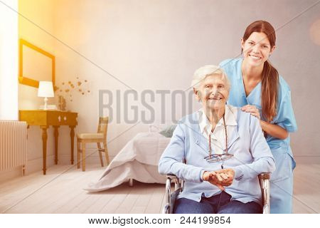 Senior with geriatric nurse at home as a nursing service concept (3D Rendering)