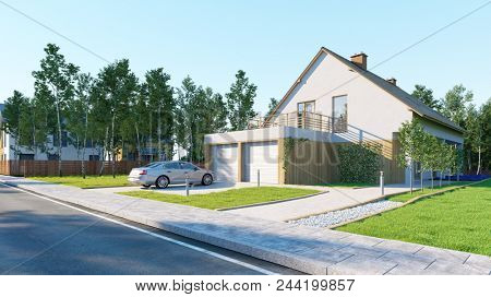Car parked in front of a double garage of a home property with garden (3D rendering)