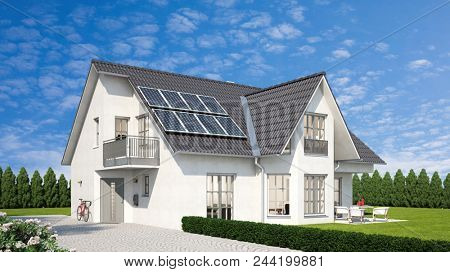 Harvesting renewable energy with solar cell panels, mounted on a house with garden (3D rendering)