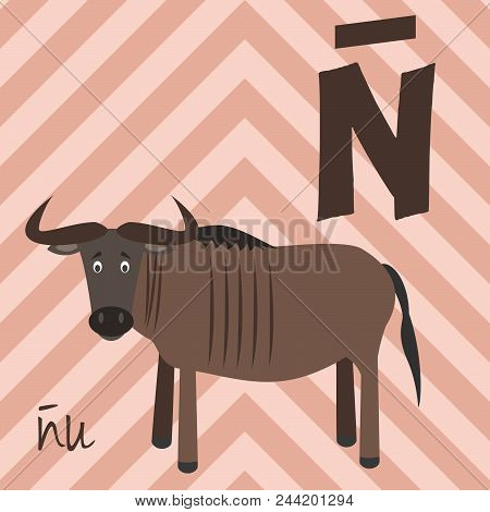 Cute Cartoon Zoo Illustrated Alphabet With Funny Animals. Spanish Alphabet: Ñ For Ñu. Learn To Read.