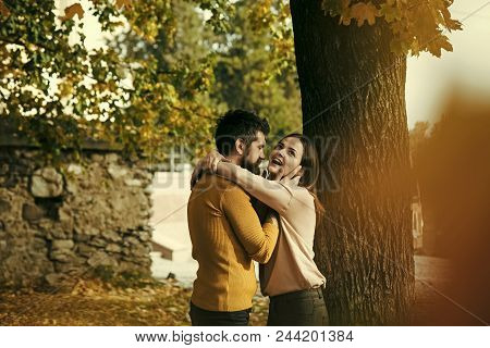 Date A Young Couple In Love. Autumn Happy Couple Of Girl And Man Outdoor. Love Relationship And Roma