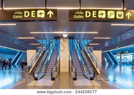 Doha, Qatar - Apr7, 2018: Interior Of Hamad International Airport On April 7,2018 In Doha,qatar. It