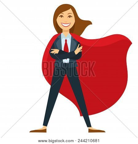Superwoman In Formal Office Suit With Red Tie And Cloak. Modern Strong And Powerful Female Character