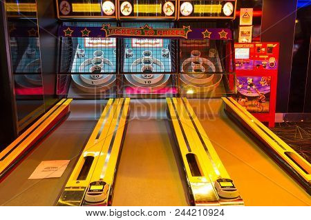 Cape Canaveral, Usa - April 30, 2018: The Children Slot Machines On A Cruise Ship Or Cruise Liner Oa
