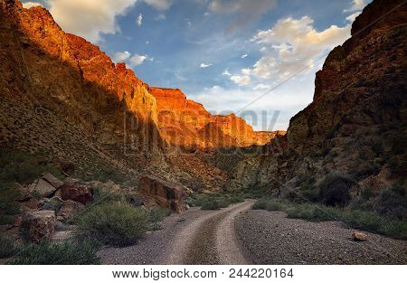 Canyon In The Desert At Sunset