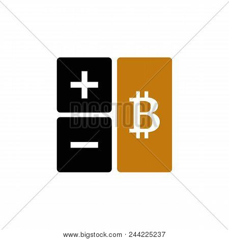 Calculator Icon With Bitcoin Sign. Mining Cryptocurrency