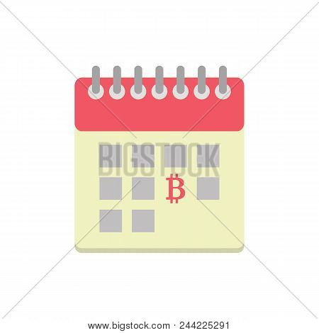 Flat Style Icon With Calendar And Bitcoin, Payday
