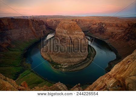 Bending Time: Sunrise Over The Colorado River At Horseshoe Bend, Glen Canyon National Park, Paige, A