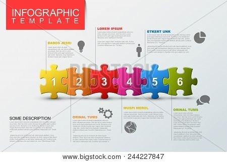 Vector puzzle Infographic report template made from colorful jigsaw pieces, icons and description text poster
