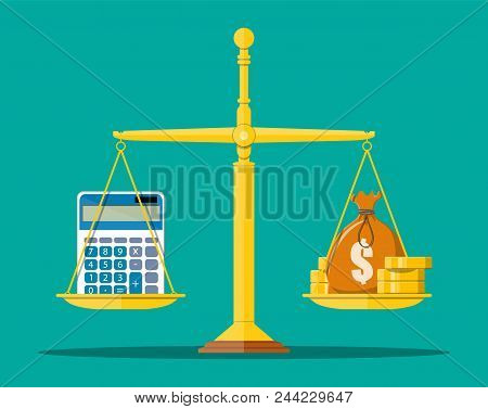 Money Balance Concept. Golden Coins, Money Bag, Calculator, Scales. Financial Reports Statement And