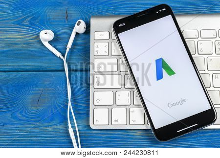 Sankt-petersburg, Russia, June 2, 2018: Google Adwords Application Icon On Apple Iphone X Screen Clo